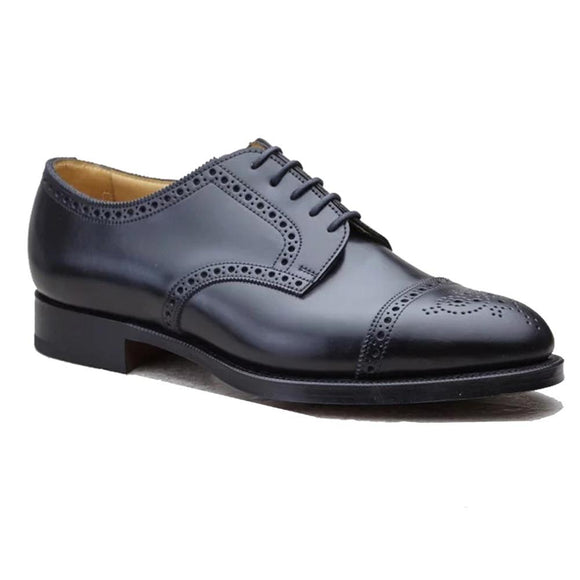 Flat Feet Shoes - Black Leather Friars Brogue Derby Shoes with Arch Support