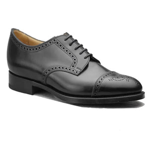 Height Increasing Black Leather Friars Brogue Derby Shoes