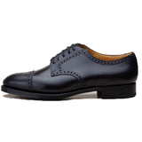 Black Leather Friars Brogue Derby Shoes