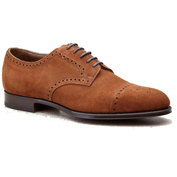 Flat Feet Shoes - Tan Suede Friars Brogue Derby Shoes with Arch Support