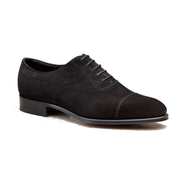 Flat Feet Shoes - Black Suede Waltham Toe Cap Oxfords with Arch Support