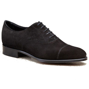Height Increasing Black Suede Waltham Toe Cap Oxfords