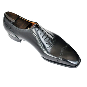 Flat Feet Shoes - Black Leather Cheshire Oxford Shoes with Arch Support