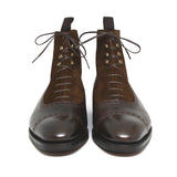 Height Increasing Brown Leather & Suede Clifton Lace Up Boots