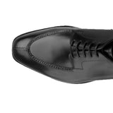 Height Increasing Black Leather Hamlet Derby Shoes