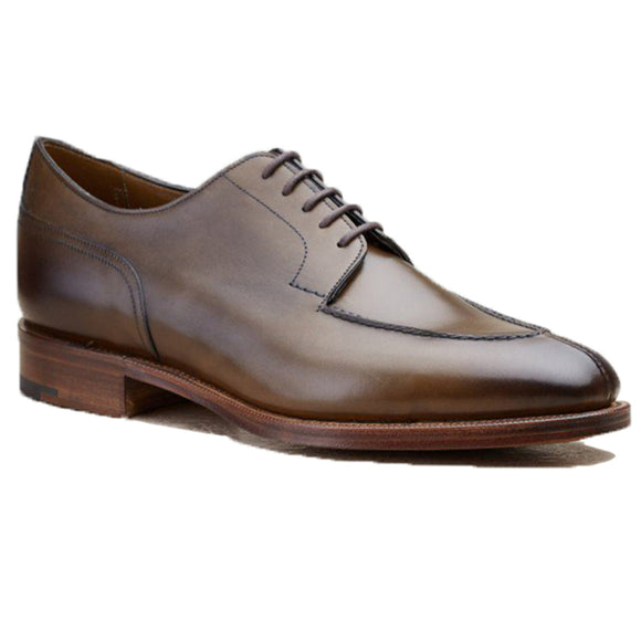 Height Increasing Olive Green Leather Hamlet Derby Shoes