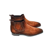 Goodyear Welted Cadaval Tan Suede Chelsea Boot with Violin Leather Sole