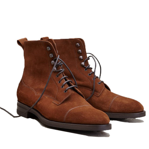 Flat Feet Shoes - Tan Leather Purley Lace Up Boots with Arch Support
