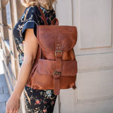 Brown Leather Light Backpack Bag