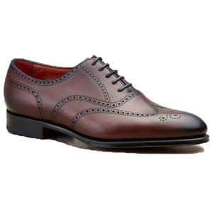 Flat Feet Shoes - Mahogany Brown Leather Gedling Brogue Oxfords with Arch Support