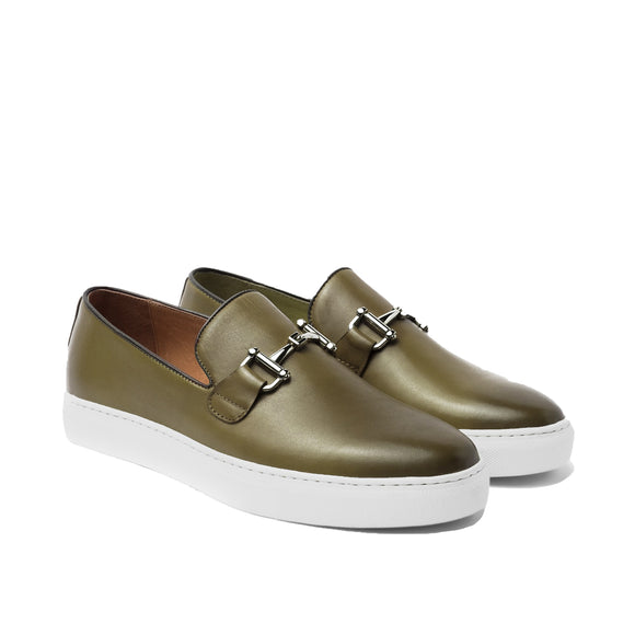 Green Leather Alvin Horse Bit Sneakers