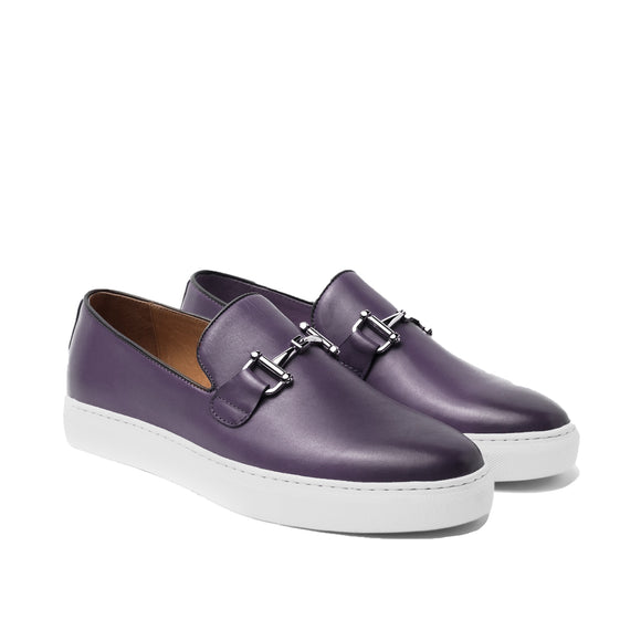 Purple Leather Alvin Horse Bit Slip On Sneakers