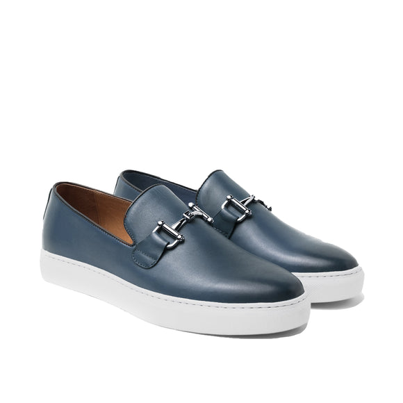 Blue Leather Alvin Horse Bit Slip On Sneakers