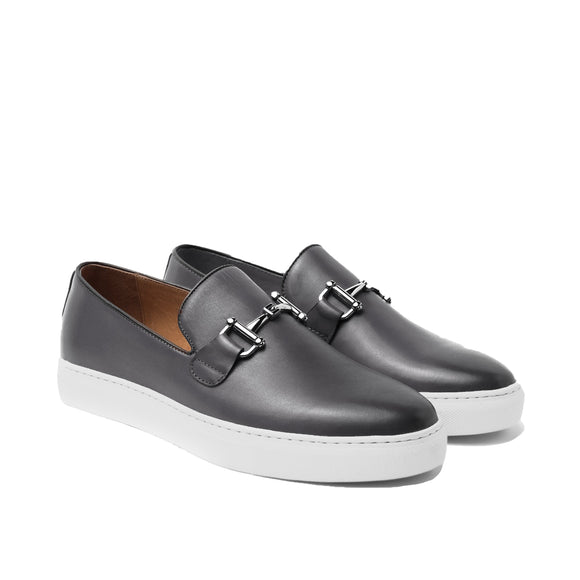 Black Leather Alvin Horse Bit Slip On Sneakers