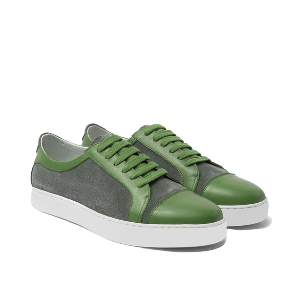 Green Leather and Grey Suede Angus Lace Up Sneakers