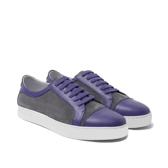 Purple Leather and Grey Suede Angus Lace Up Sneakers