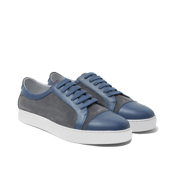 Navy Blue Leather and Grey Suede Angus Lace Up Sneakers