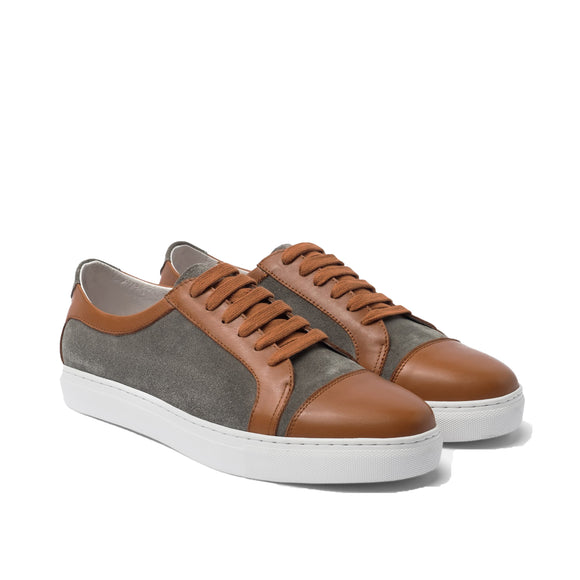 Tan Leather and Grey Suede Angus Lace Up Sneakers