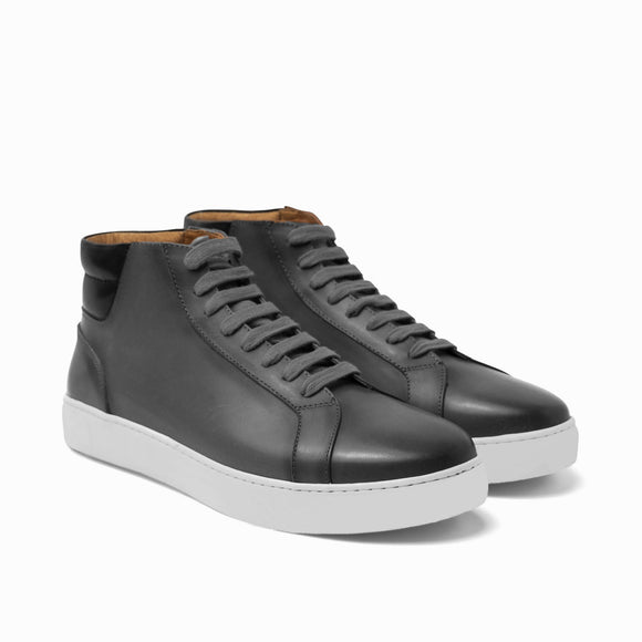 Flat Feet Shoes - Black Dark Silver Leather Angus Sneaker Boots with Arch Support