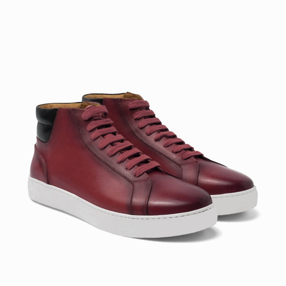 Dark Red Leather Angus Sneaker Boots