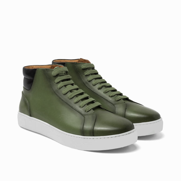 Olive Green Leather Angus Sneaker Boots