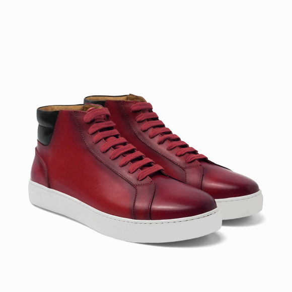 Cherry Red Leather Angus Sneaker Boots
