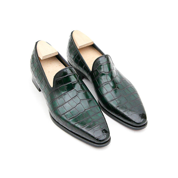 Goodyear Welted Sardoal Emerald Green Leather Loafer With Violin Leather Sole