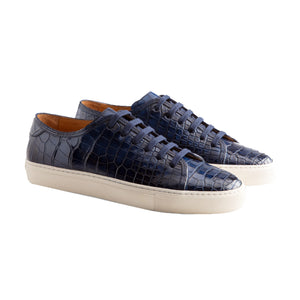 Navy Blue Croc Print Leather Cornella Lace Up Sneakers