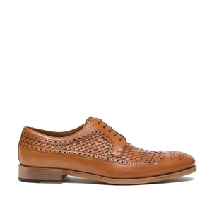 Flat Feet Shoes - Tan Braided Leather Norwood Brogue Derby Shoes with Arch Support
