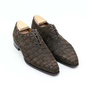 Goodyear Welted Tarouca Brown Nubuck Croc Print Oxford With Violin Leather Sole