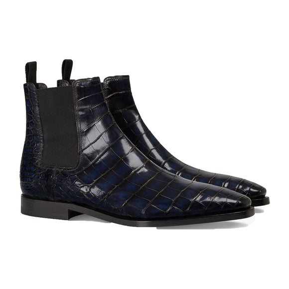 Navy Blue Alligator Textured Leather Evington Chelsea Slip On Boots