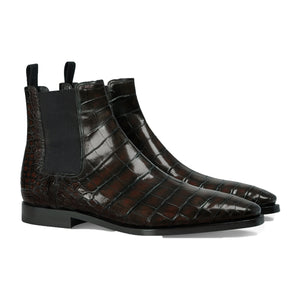 Brown Alligator Textured Leather Evington Chelsea Slip On Boots