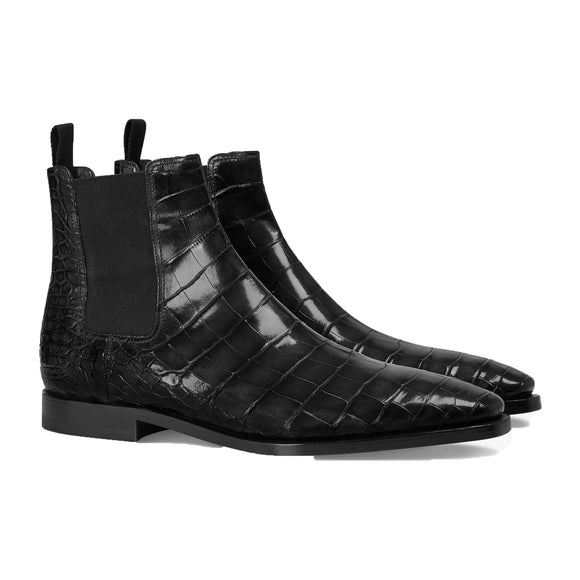 Black Alligator Textured Leather Evington Chelsea Slip On Boots