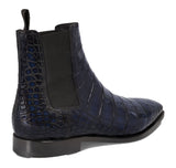 Flat Feet Shoes - Navy Blue Alligator Textured Leather Evington Chelsea Slip On Boots with Arch Support