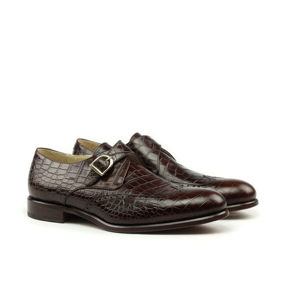 Goodyear Welted Guarda Brown Leather Croc Print Double Monk Strap With Violin Leather Sole
