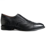 Height Increasing Black Braided Leather Morice Brogue Oxfords