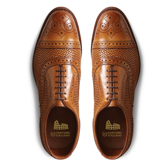Flat Feet Shoes - Tan Braided Leather Morice Brogue Oxfords with Arch Support