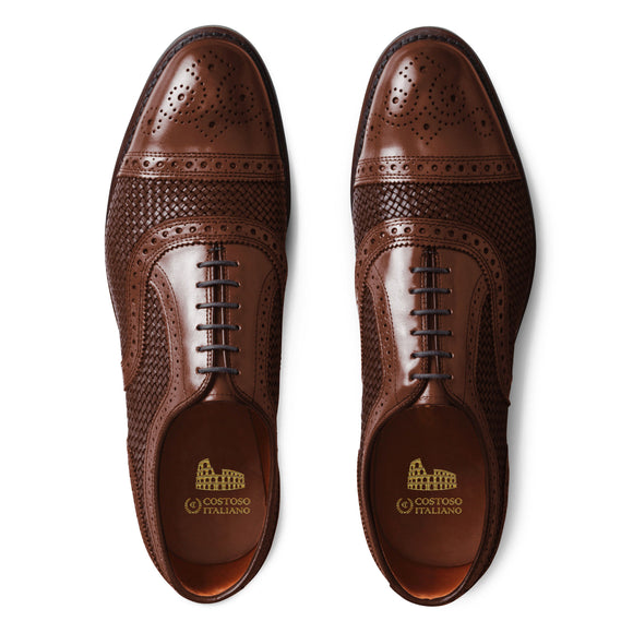 4fa085cba11 Brown Braided Leather Morice Brogue Oxfords