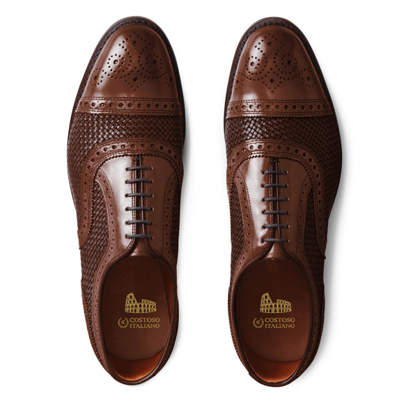 Flat Feet Shoes - Brown Braided Leather Morice Brogue Oxfords with Arch Support