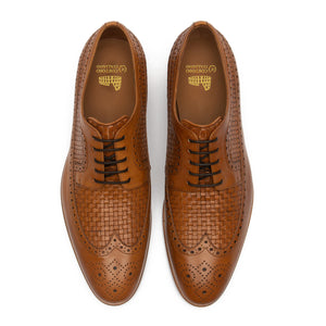 Height Increasing Tan Braided Leather Norwood Brogue Derby Shoes