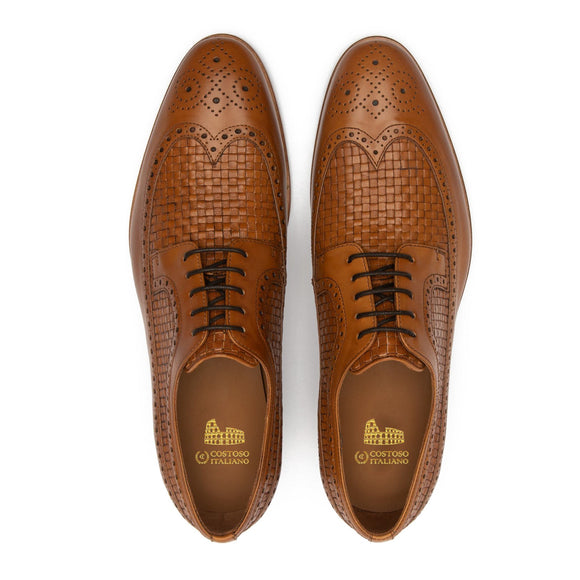 990cb81c797 Tan Braided Leather Norwood Brogue Derby Shoes. Leather Derby Shoes · Brown  Leather Barbican Tassel Loafers