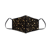 Black Silk Mask with Golden Swarovski Crystals