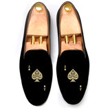 Flat Feet Shoes - Black Velvet Ace of Spades Embroidered Loafers with Arch Support