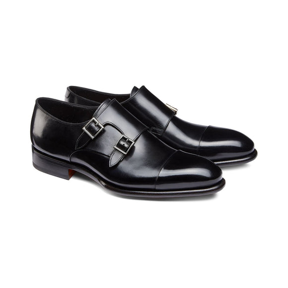 Flat Feet Shoes - Black Leather Castle Monk Straps with Arch Support