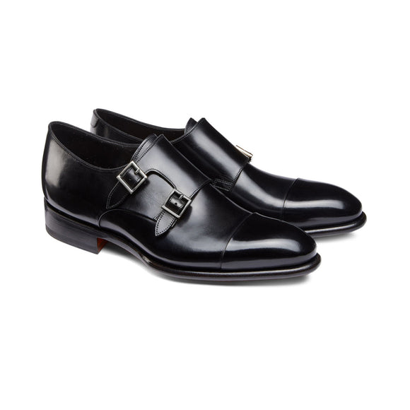 Height Increasing Black Leather Castle Monk Straps