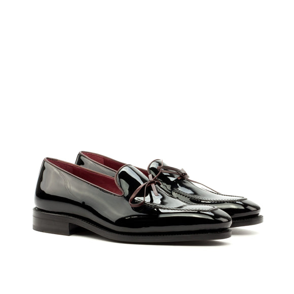 Goodyear Welted Sabugal Black Patent Laced Loafer With Violin Leather Sole