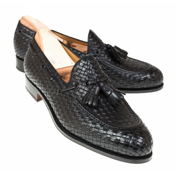Black Hand Woven Braided Leather Acton Loafers