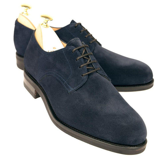 Flat Feet Shoes - Navy Blue Suede Holstein Derby Shoes with Arch Support