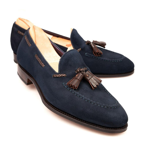 Flat Feet Shoes - Blue Suede Warwick Loafers with Arch Support