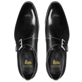 Flat Feet Shoes - Black Leather Bromley Monk Straps with Arch Support